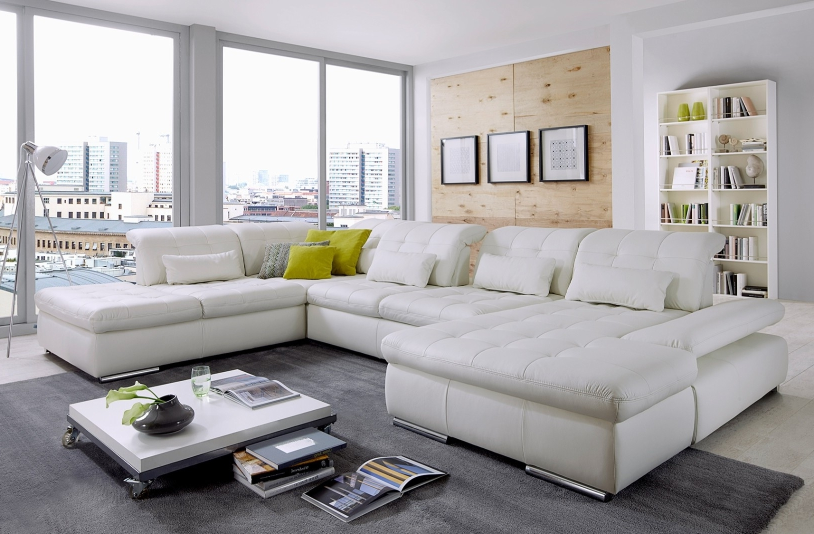 Alpine Sectional Sofa In Punch White Leather For Favorite Panama City Fl Sectional Sofas (View 1 of 20)