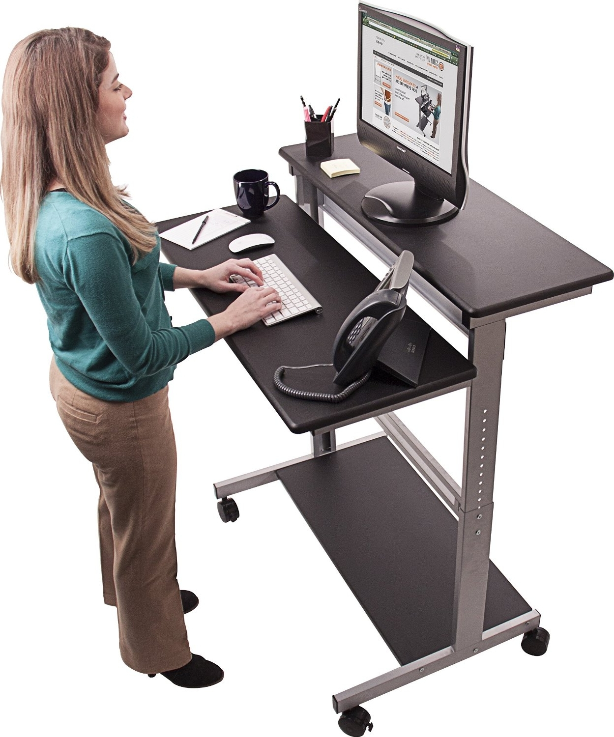 "Amazon: 40"" Black Shelves Mobile Ergonomic Stand Up Desk Intended For Well Known Amazon Computer Desks (View 9 of 20)"