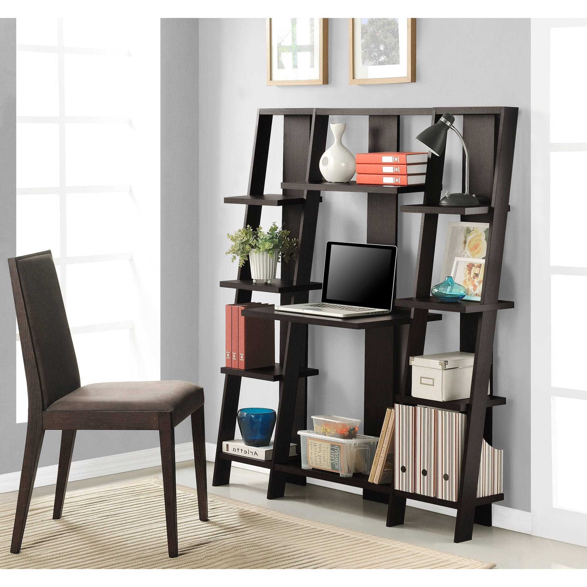Ameriwood Home Grant Ladder Desk Bookcase Espresso Throughout Famous Computer Desks With