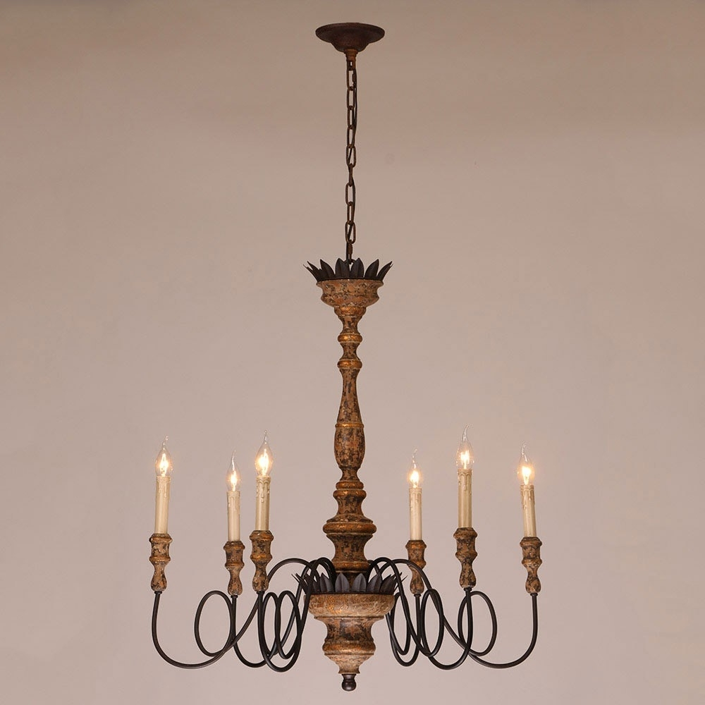 Antique 6 Light Candelabra Rust Metal Wooden Chandelier In Throughout Latest Wooden Chandeliers (View 2 of 20)