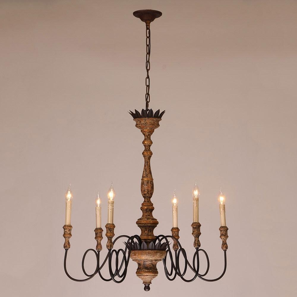 Antique 6 Light Candelabra Rust Metal Wooden Chandelier In Throughout Latest Wooden Chandeliers (View 10 of 20)