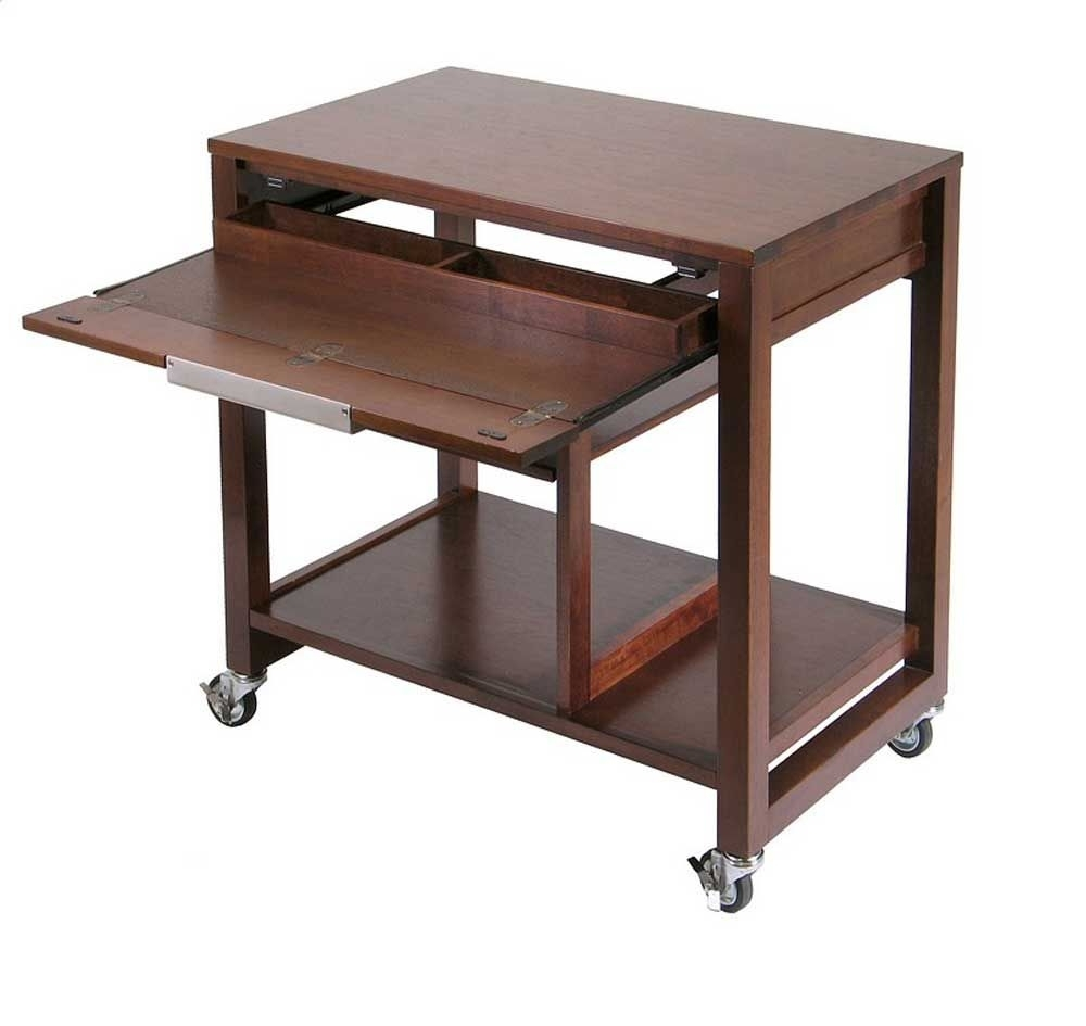 Antique Computer Desk With Keyboard Tray In Walnut Inside Most Up To Date Computer Desks With Keyboard Tray (View 9 of 20)