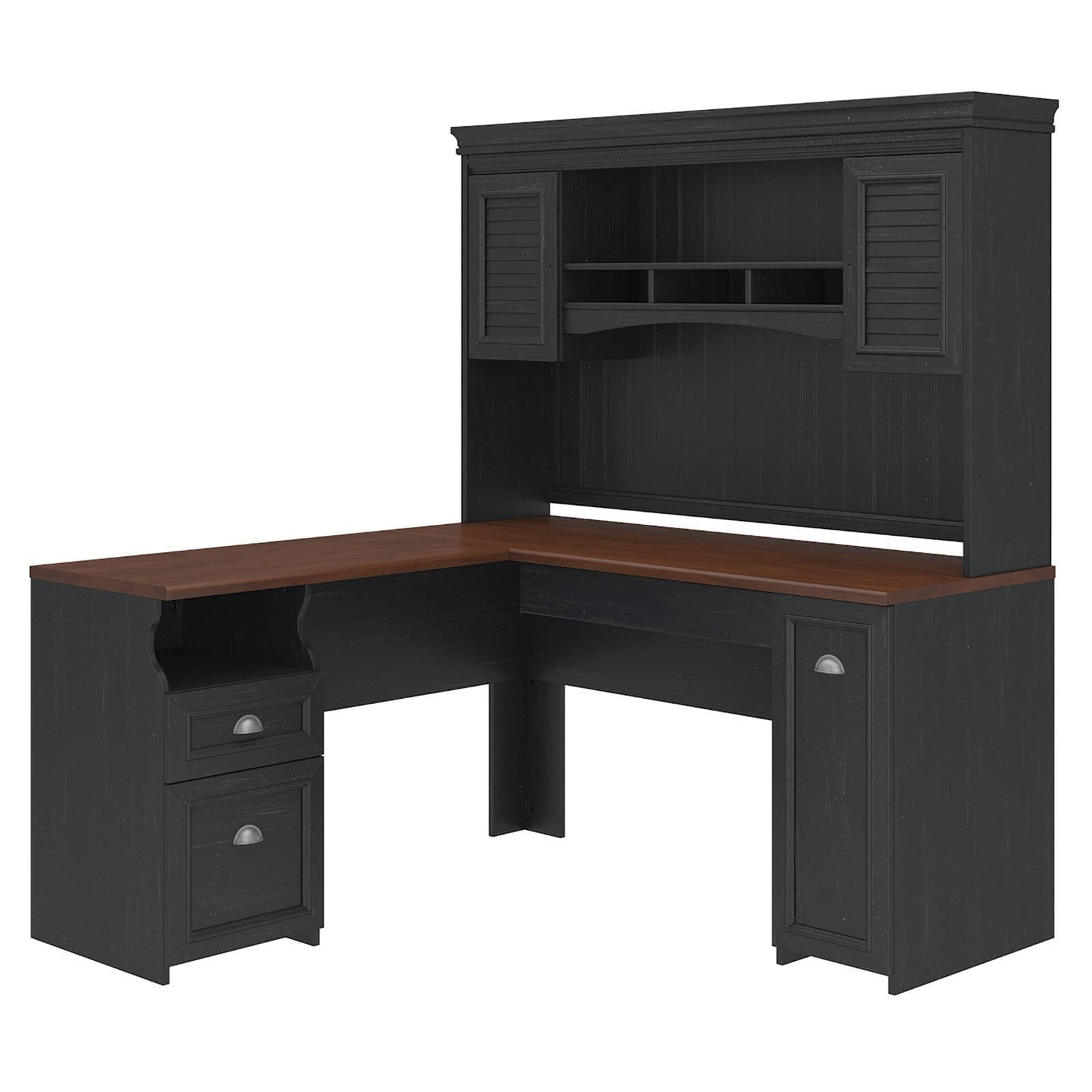 Antique Computer Desks Intended For Favorite Fairview L Shaped Desk With Hutch – Free Shipping Today (View 5 of 20)