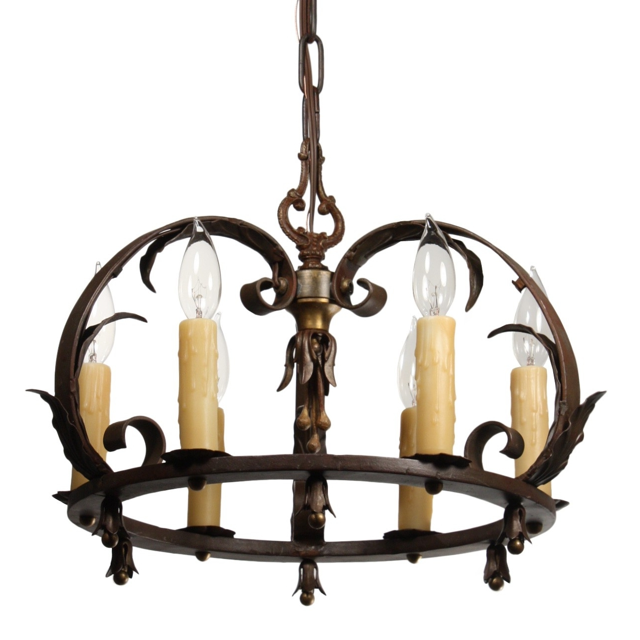 Antique Tudor Wrought Iron Chandelier – Preservation Station Throughout Preferred Wrought Iron Chandeliers (View 19 of 20)
