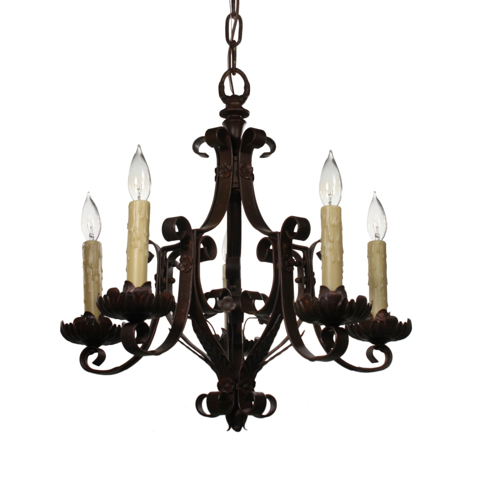Antique Wrought Iron Chandelier, C.1920S – Preservation Station Intended For Widely Used Wrought Iron Chandelier (Gallery 16 of 20)