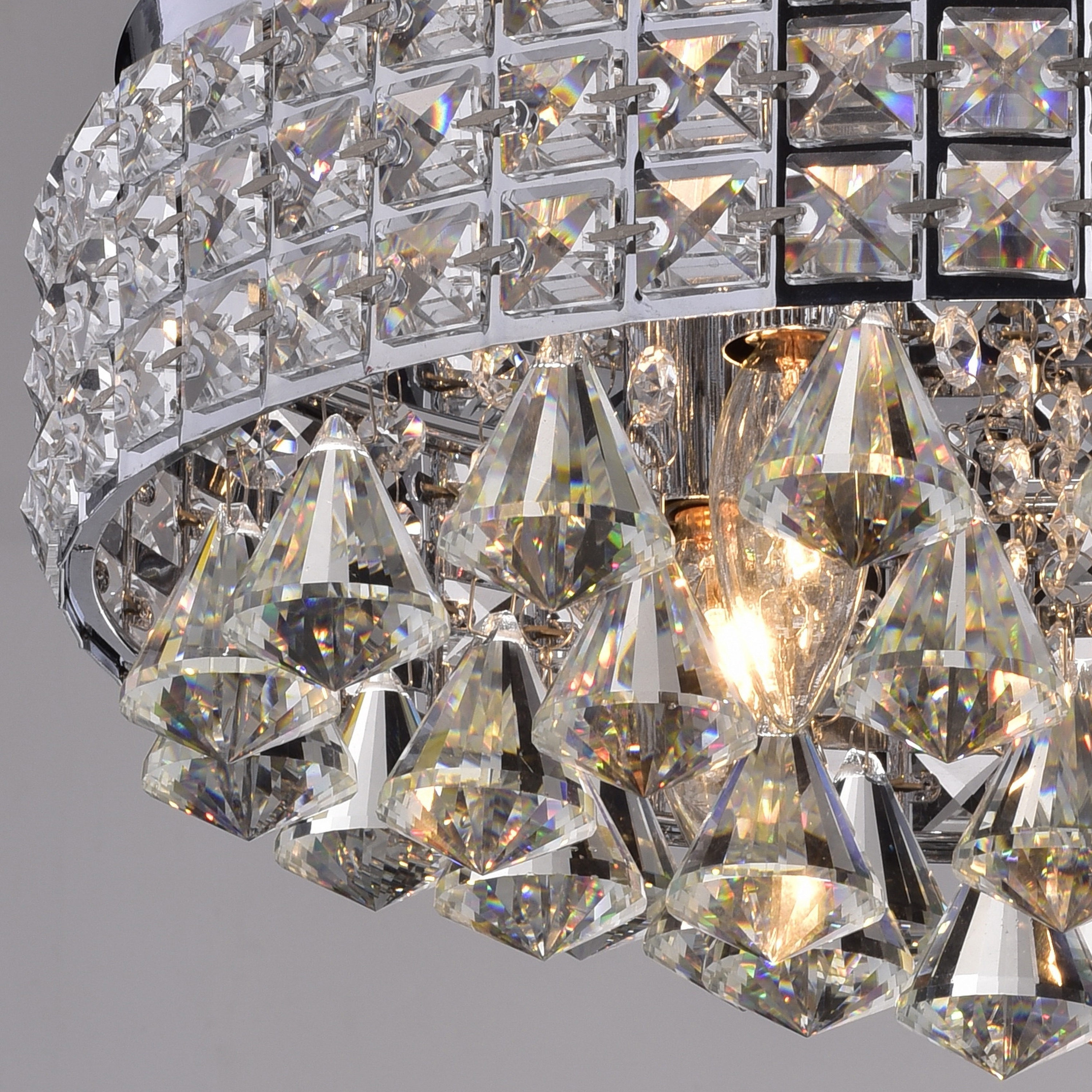 Antonia Ornate Crystal Flush Mount Chandelier In Chrome – Free Regarding Preferred Wall Mount Crystal Chandeliers (View 2 of 20)