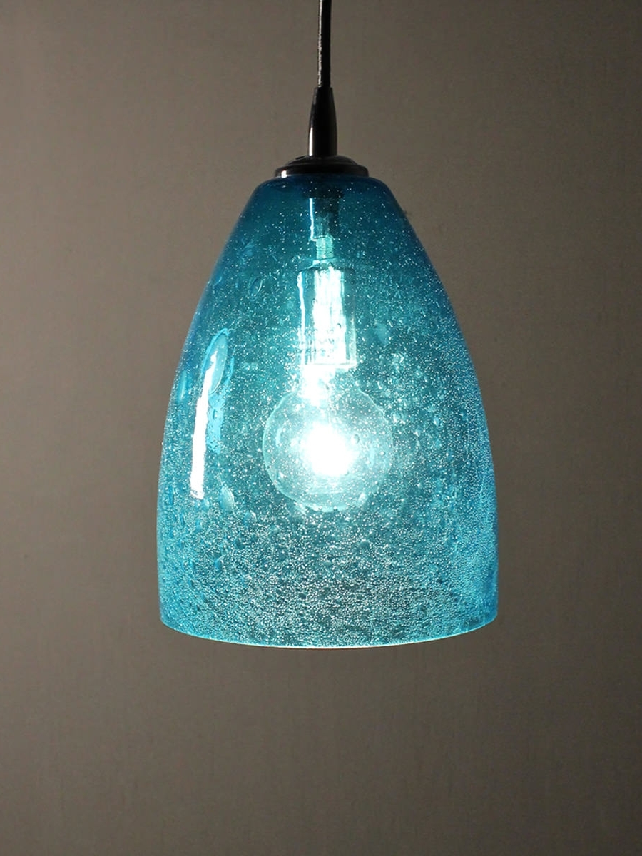 Aqua Seeded Glass Pendant Dome Home Shop Gift With Regard To Turquoise Blue Glass Chandeliers (View 1 of 20)
