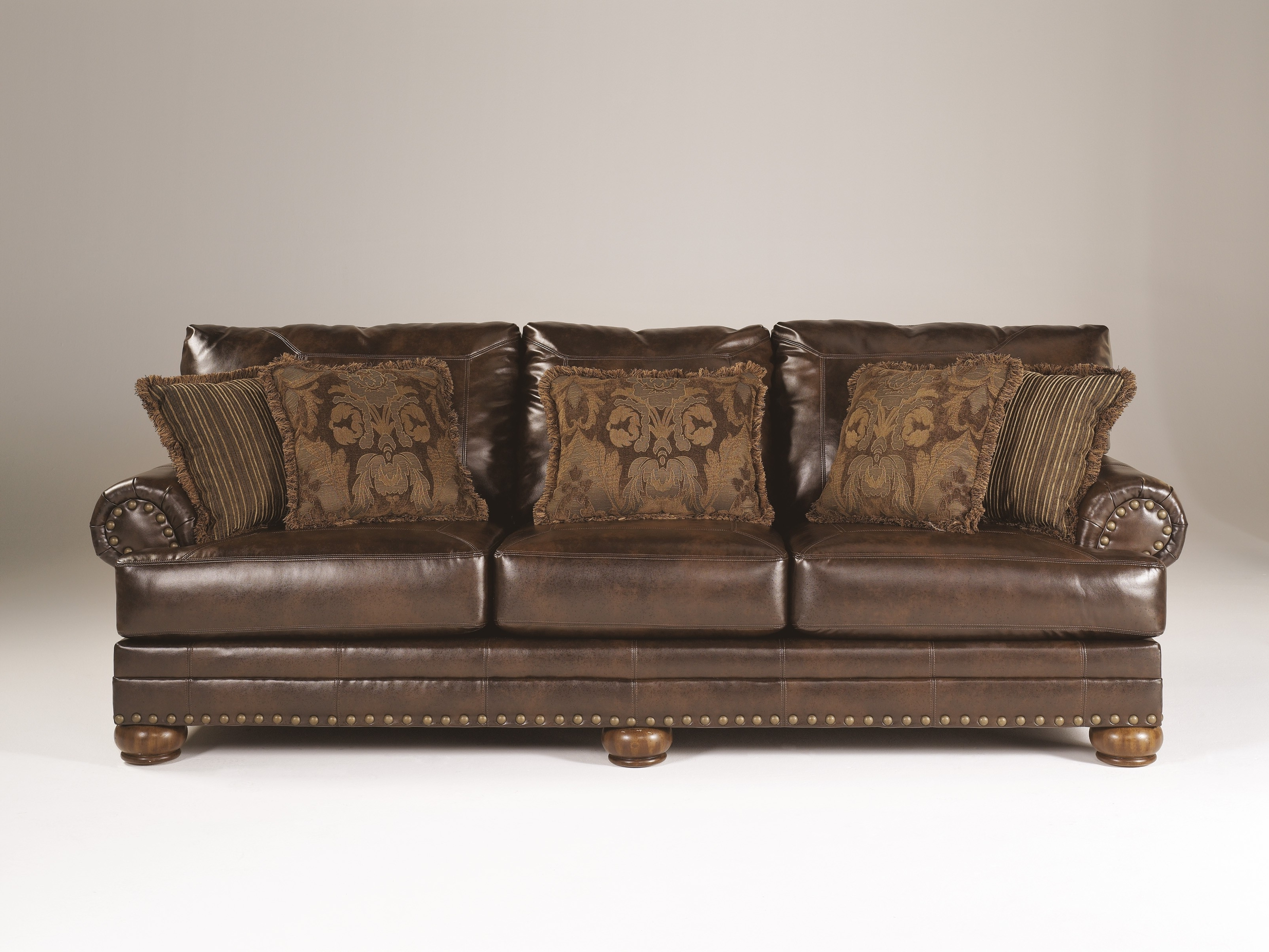 Ashley Brown Leather Durablend Antique Sofaashley Furniture Inside 2018 Antique Sofas (View 6 of 20)