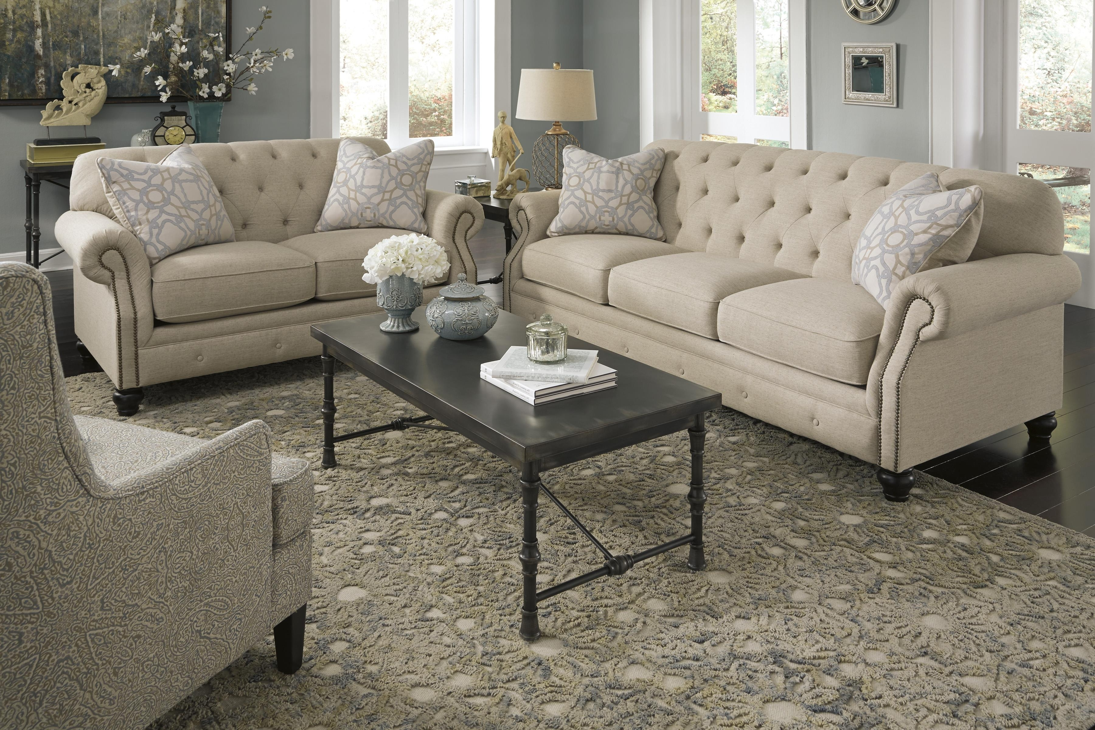 Ashley Tufted Sofas With Preferred Traditional Sofa With Tufted Back And Feather Blend Accent Pillows (View 8 of 20)