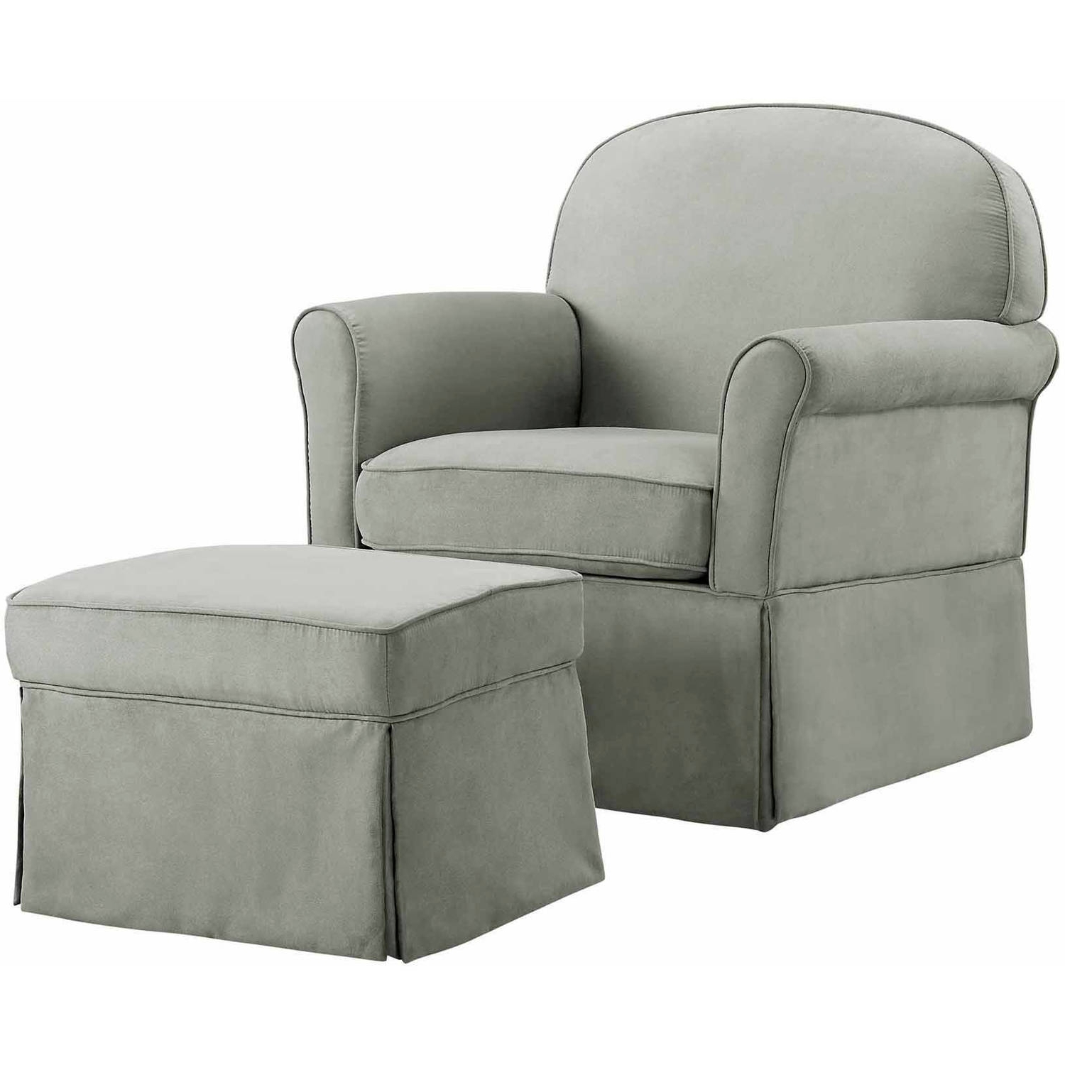 Baby Relax Evan Swivel Glider And Ottoman Gray – Walmart With Favorite Gliders With Ottoman (View 3 of 20)