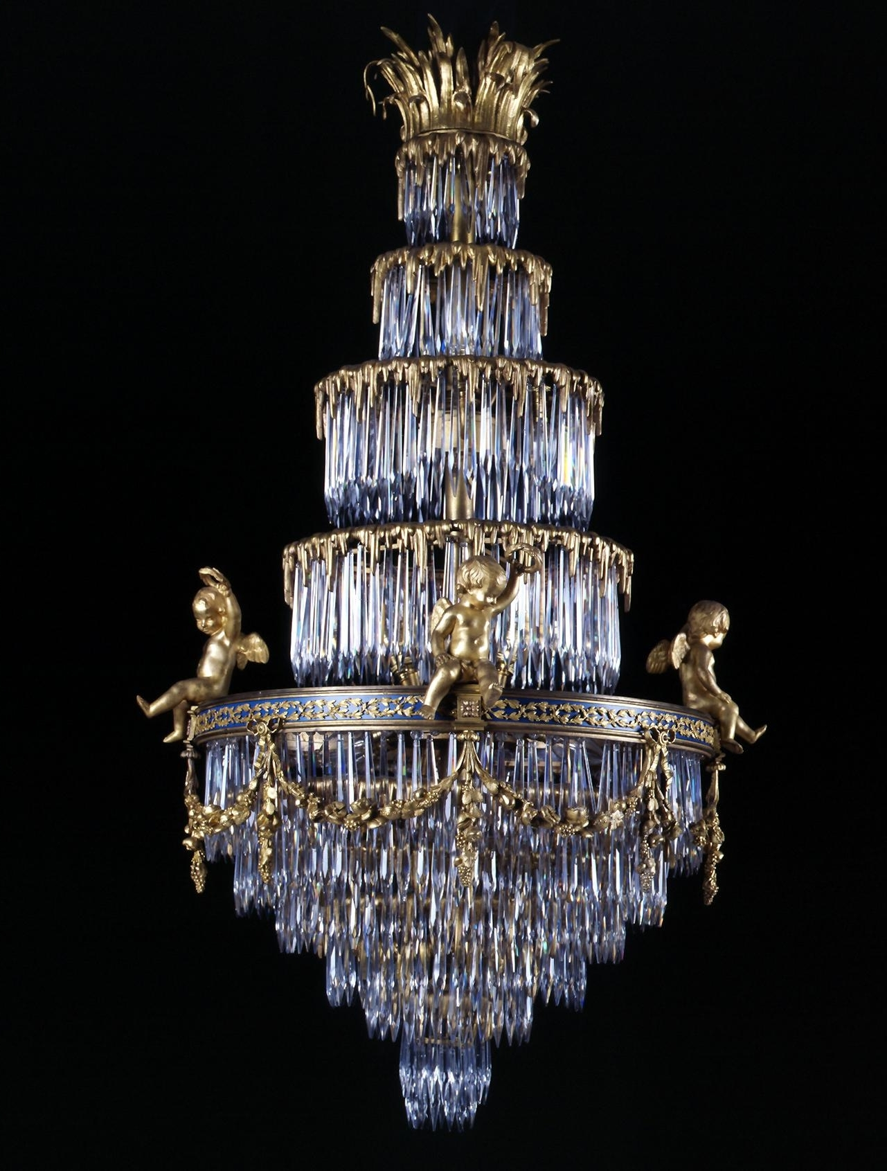 Baccarat A Rare Crystal And Gilt Bronze Waterfall Chandelier French Throughout Recent Vintage French Chandeliers (View 3 of 20)
