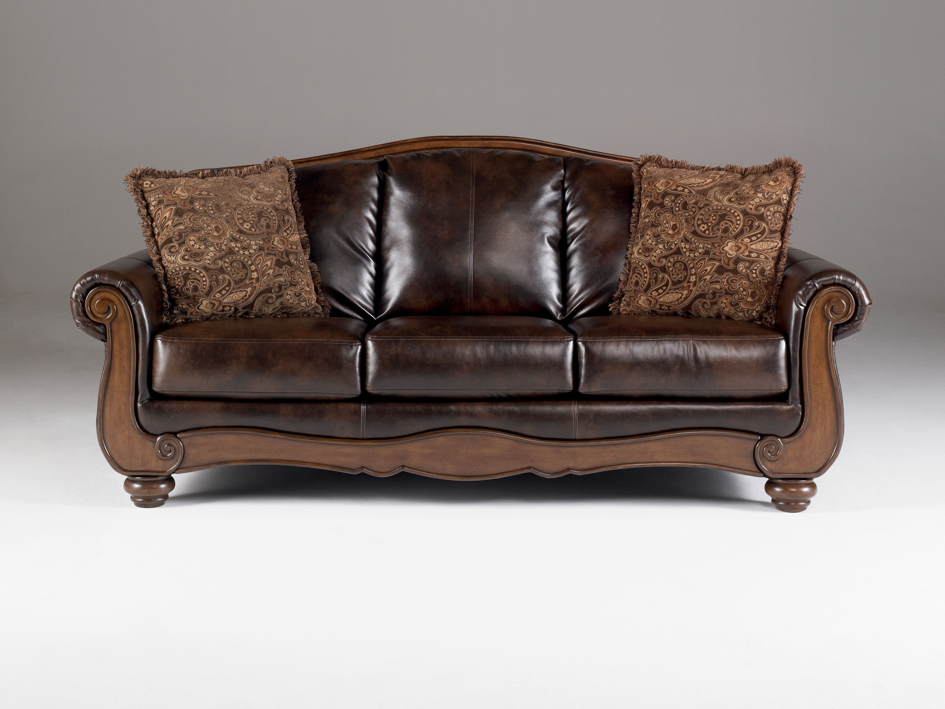 Barcelona Traditional Antique Faux Leather Sofa W/cushion Back For Popular Antique Sofas (View 8 of 20)