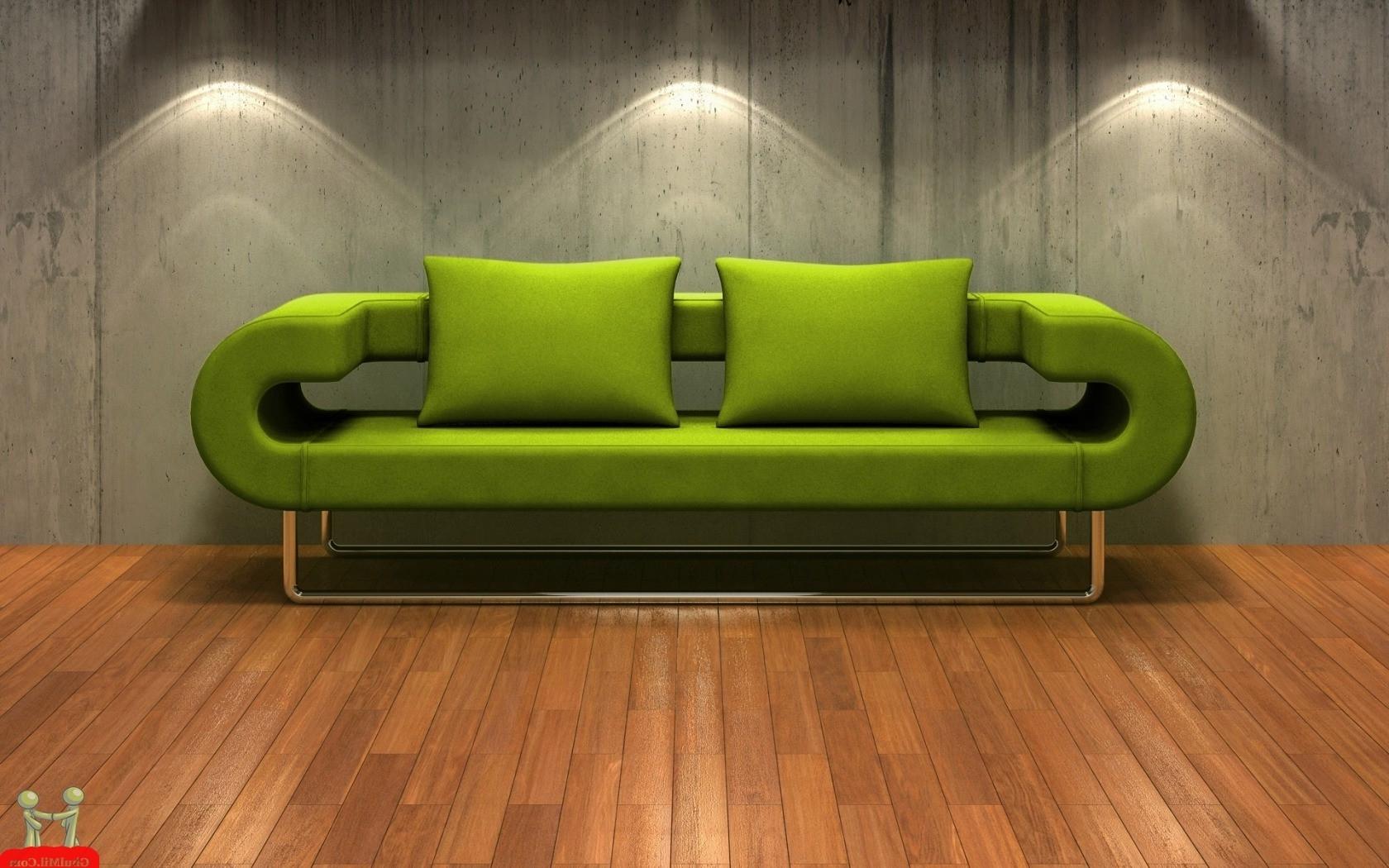 Beautiful 3D Hd Green Sofa Wallpaper (View 2 of 20)