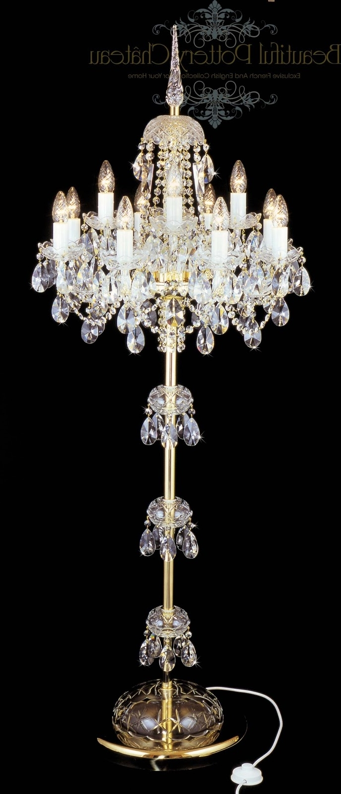 Beautiful Pottery: Bohemian Crystals Standing Chandelier Within 2018 Standing Chandeliers (View 3 of 20)
