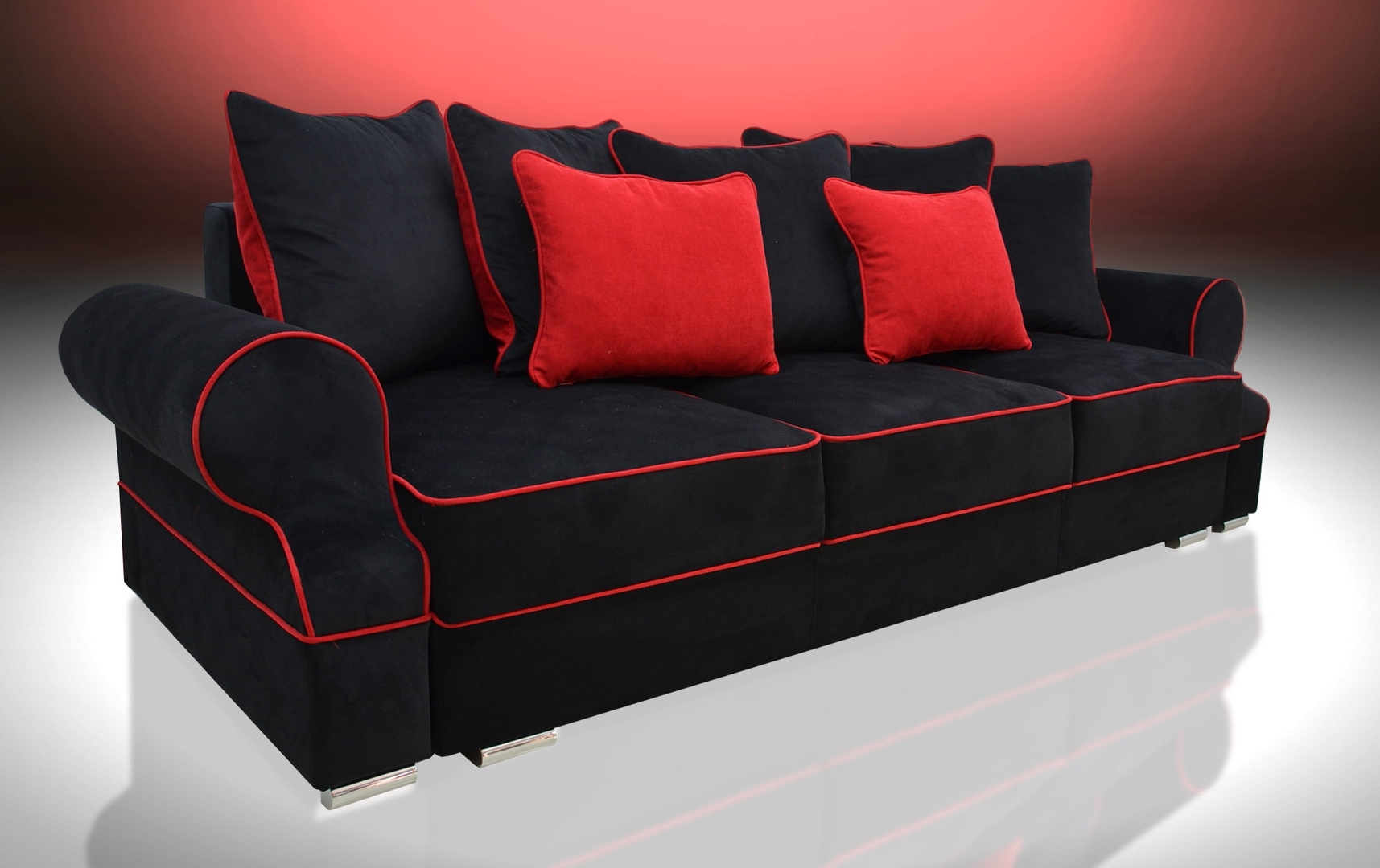 Bed 3 Seater Royal, Black/red Velvet Fabric Within Best And Newest Red And Black Sofas (View 1 of 20)