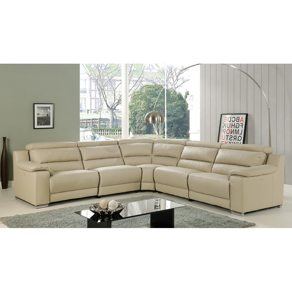 Beige, At Home Usa Pertaining To Latest Leather Recliner Sectional Sofas (View 2 of 20)