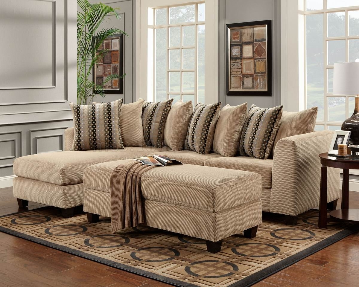 Beige Fabric Modern Elegant Sectional Sofa W/optional Ottoman Regarding Fashionable Elegant Sectional Sofas (View 2 of 20)