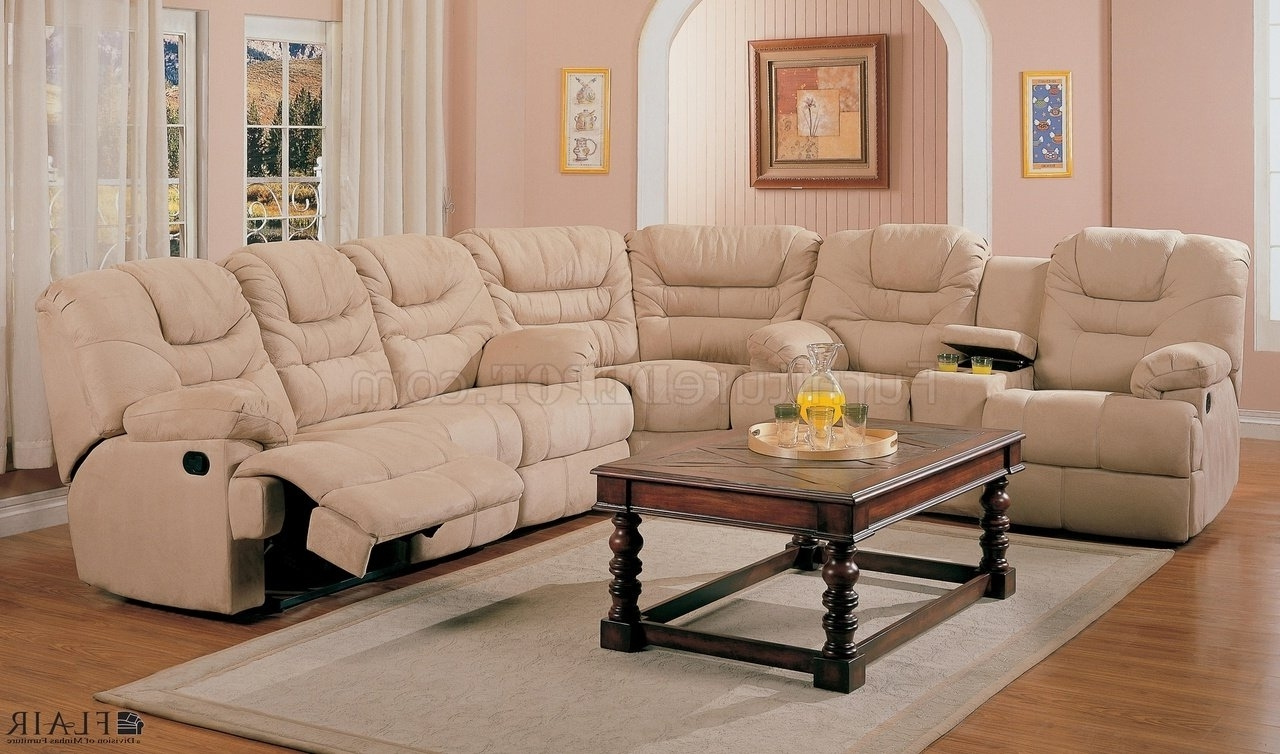 Beige Saddle Fabric Stylish Modern Reclining Sectional Sofa For 2019 Reclining Sectional Sofas (View 5 of 20)
