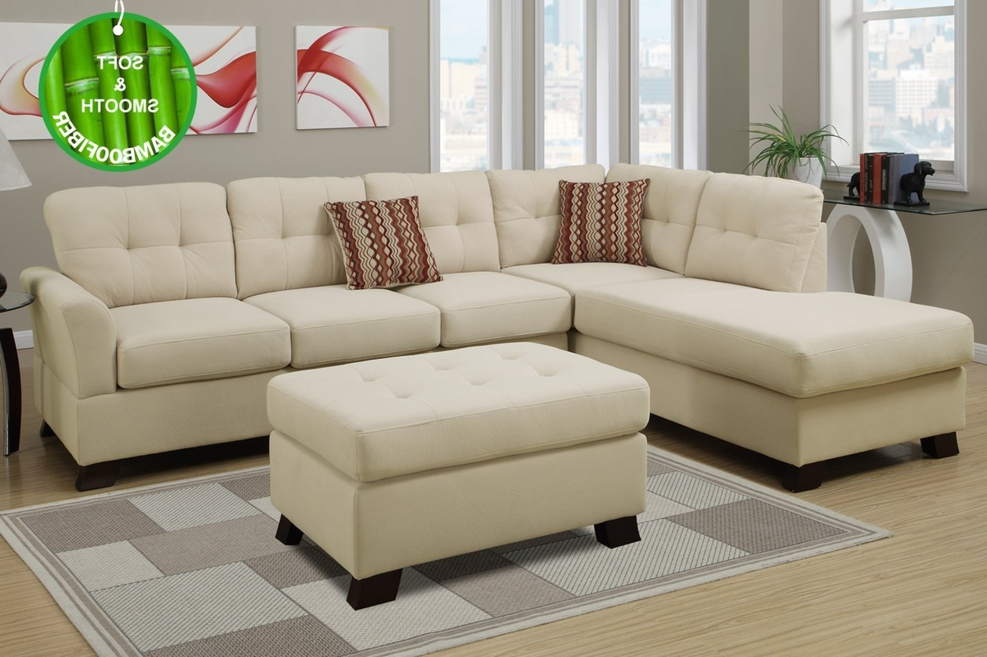 Beige Sectional Sofas For Most Recently Released Beige Fabric Sectional Sofa And Ottoman – Steal A Sofa Furniture (View 3 of 20)