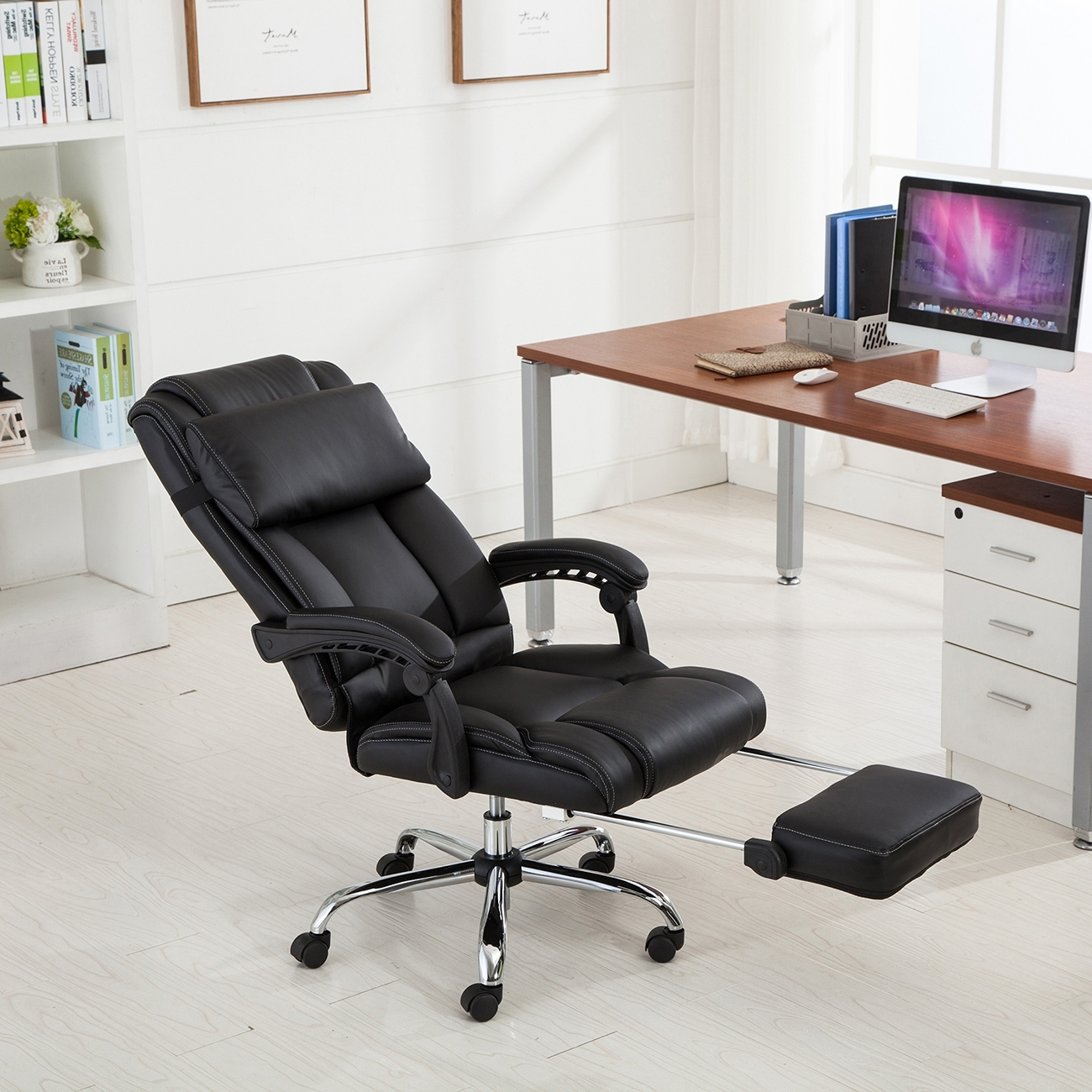 Belleze Executive Reclining Office Chair High Back W/ Footrest With 2018 Executive Reclining Office Chairs (View 2 of 20)