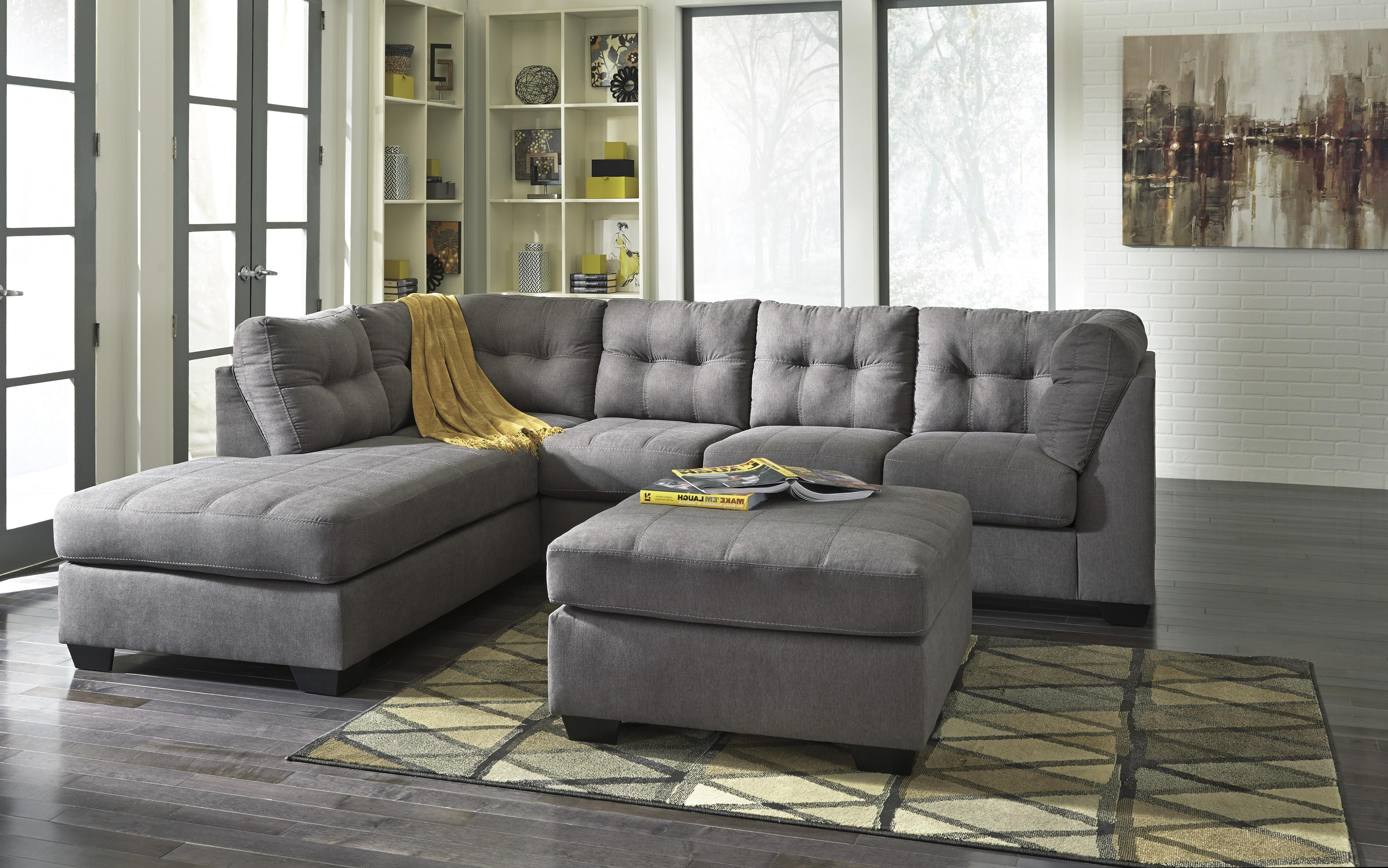 Benchcraft Maier – Charcoal 2 Piece Sectional W/ Sleeper Sofa In Most Recent Sofas With Chaise And Ottoman (View 2 of 20)