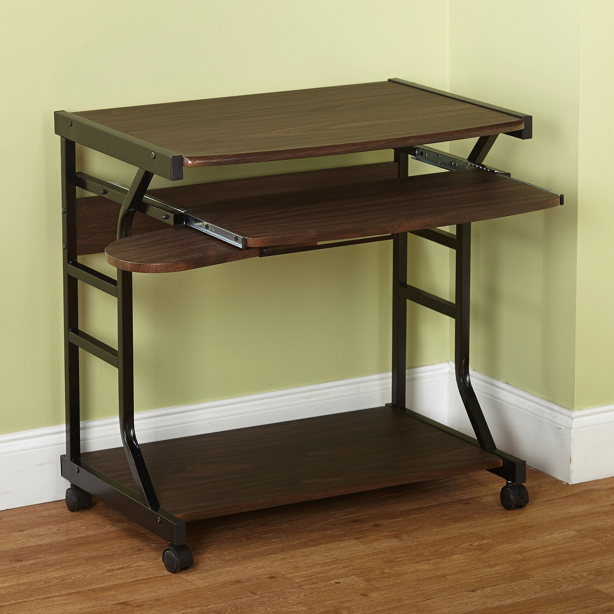 Berkeley Desk, Multiple Colors – Walmart Regarding Trendy Computer Desks With Wheels (View 1 of 20)
