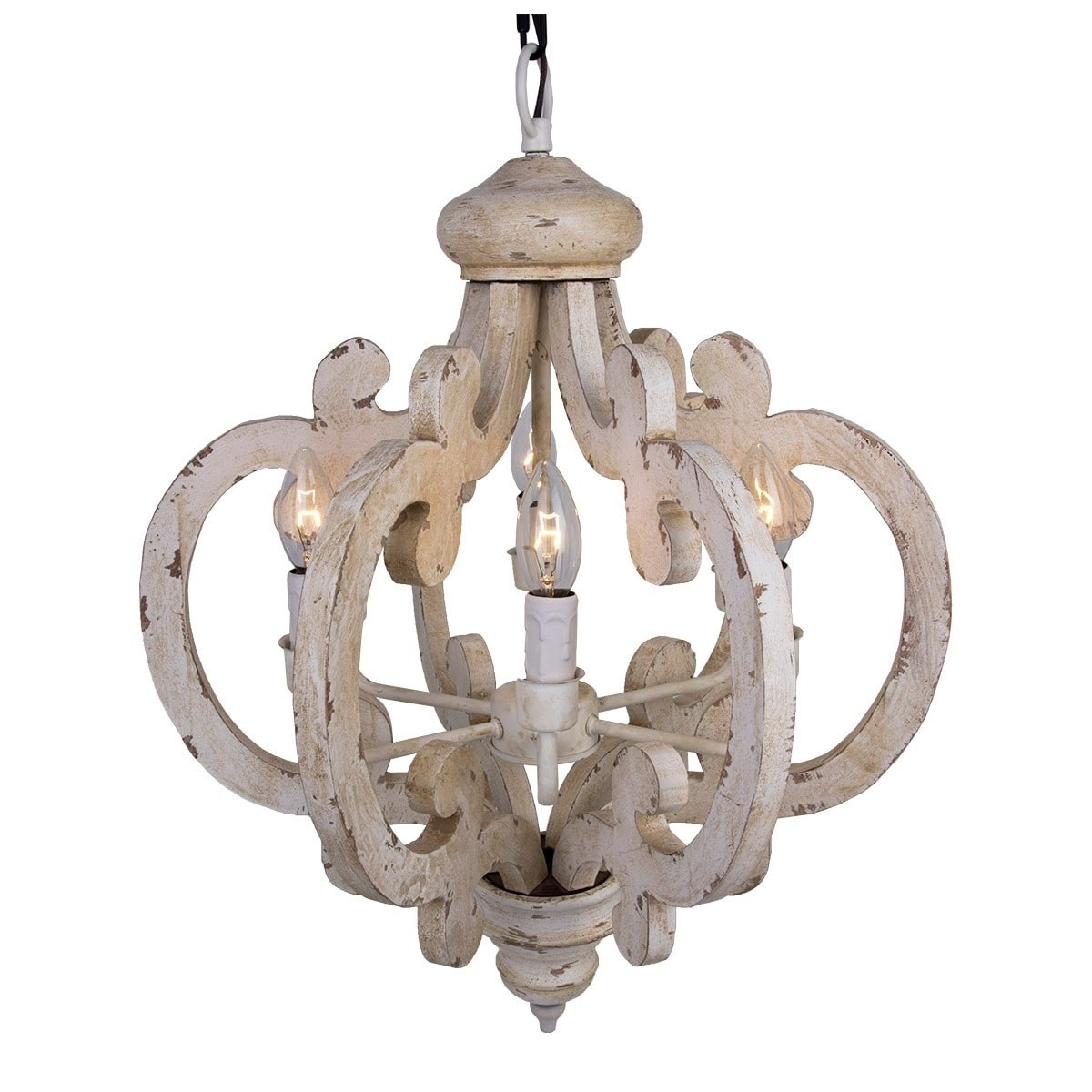 Best And Newest 6 Light Distressed Antique White Wooden Chandelier – Free Shipping For Wooden Chandeliers (View 4 of 20)
