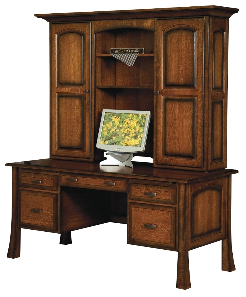 Best And Newest Amish Traditional Writing Computer Desk Hutch Solid Wood Office Throughout Solid Wood Computer Desks (View 4 of 20)