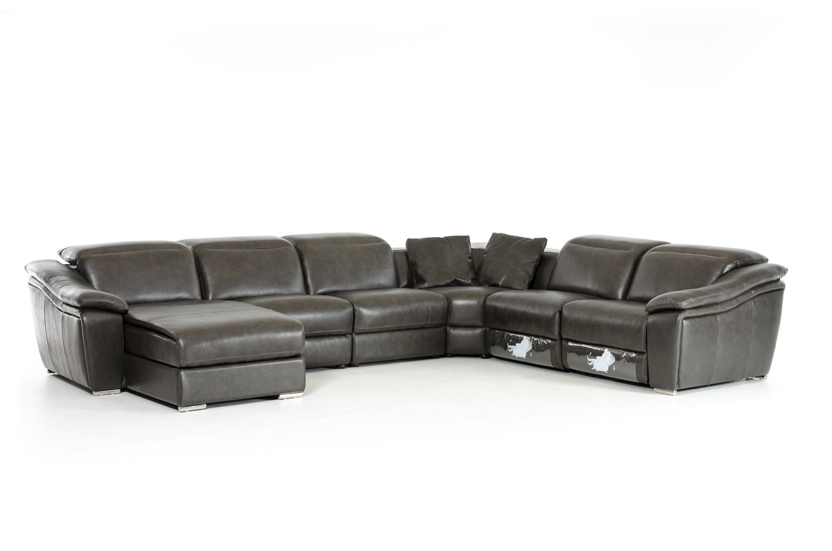 Best And Newest Armless Sectional Sofas Intended For Casa Jasper Modern Dark Grey Leather Sectional Sofa (View 6 of 20)