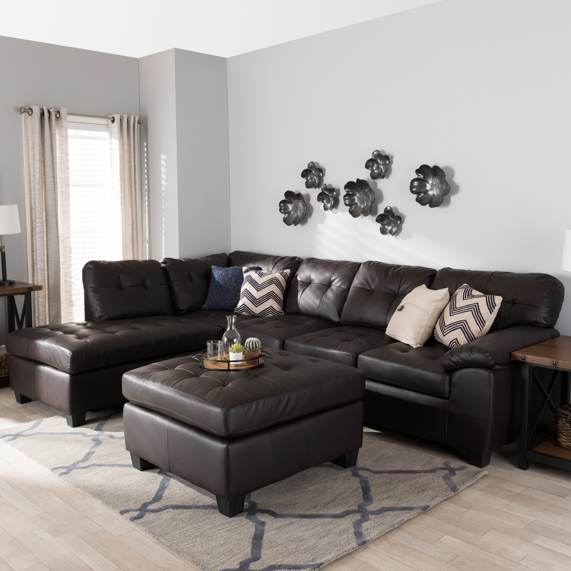 Best And Newest Baxton Studio 'mario' Brown Leather Sectional Sofa With Ottoman Inside Leather Sectionals With Ottoman (View 3 of 20)