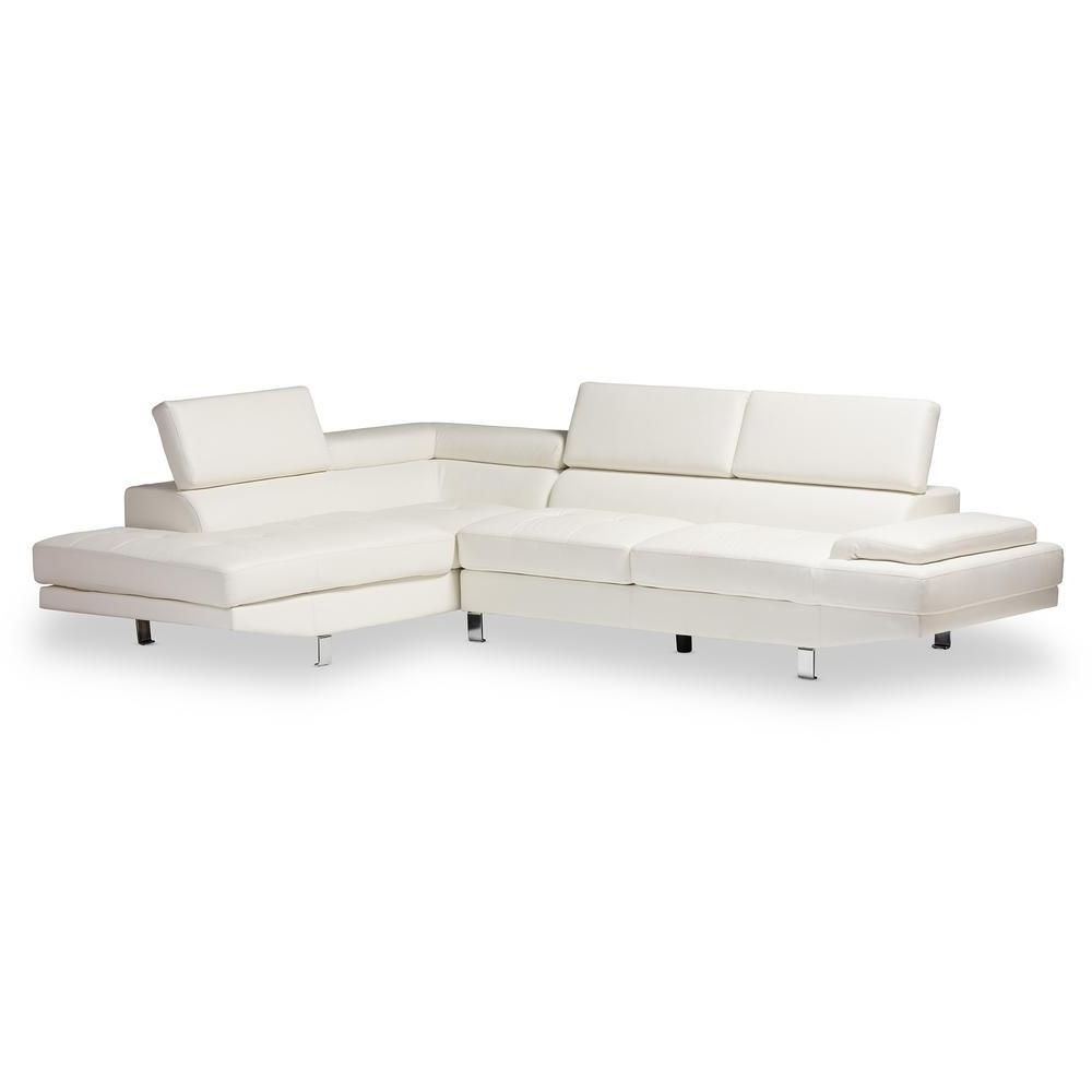 Best And Newest Baxton Studio Selma 2 Piece Modern White Faux Leather Upholstered For Home Depot Sectional Sofas (View 1 of 20)