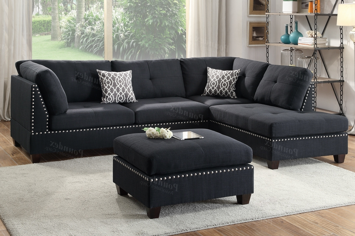 Best And Newest Black Fabric Sectional Sofa Ottoman Steal A Furniture Pertaining To