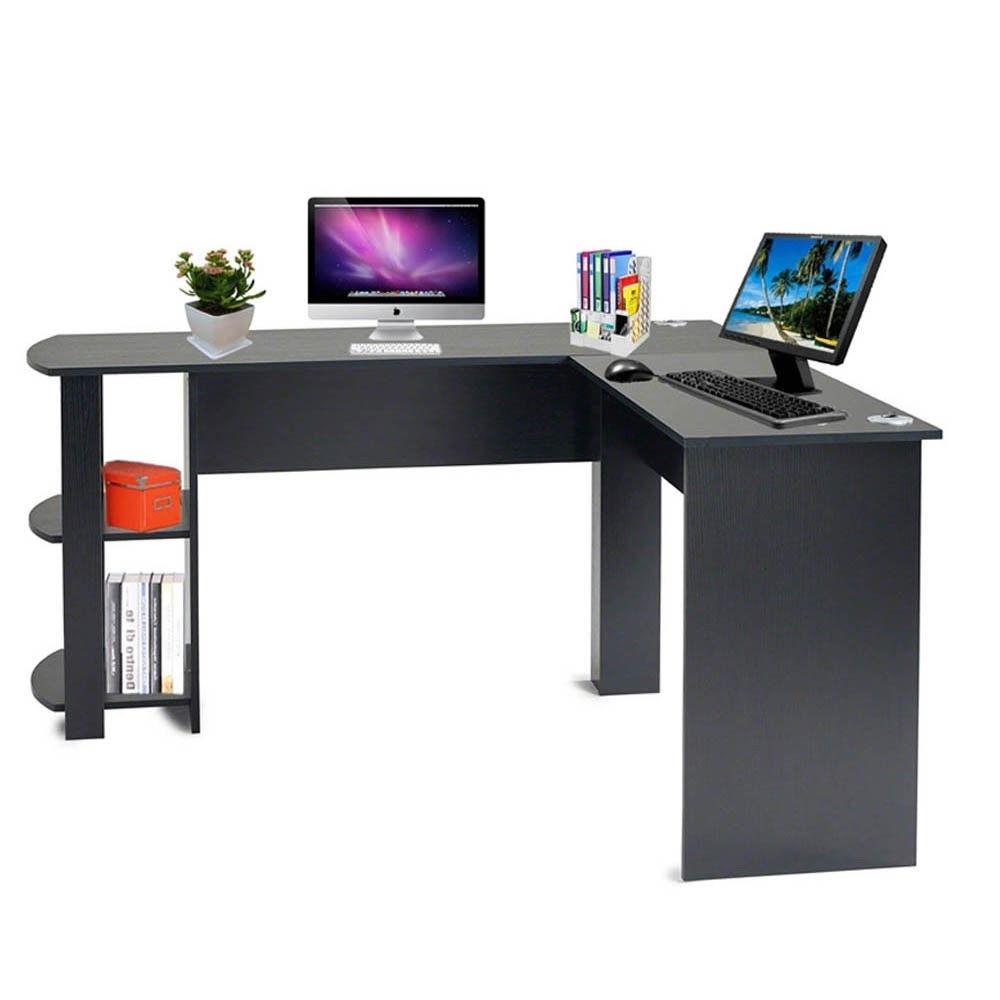 Best And Newest Computer Desks With Wheels For Desk : Wooden Corner Computer Desks For Home Black Computer Desk (View 2 of 20)