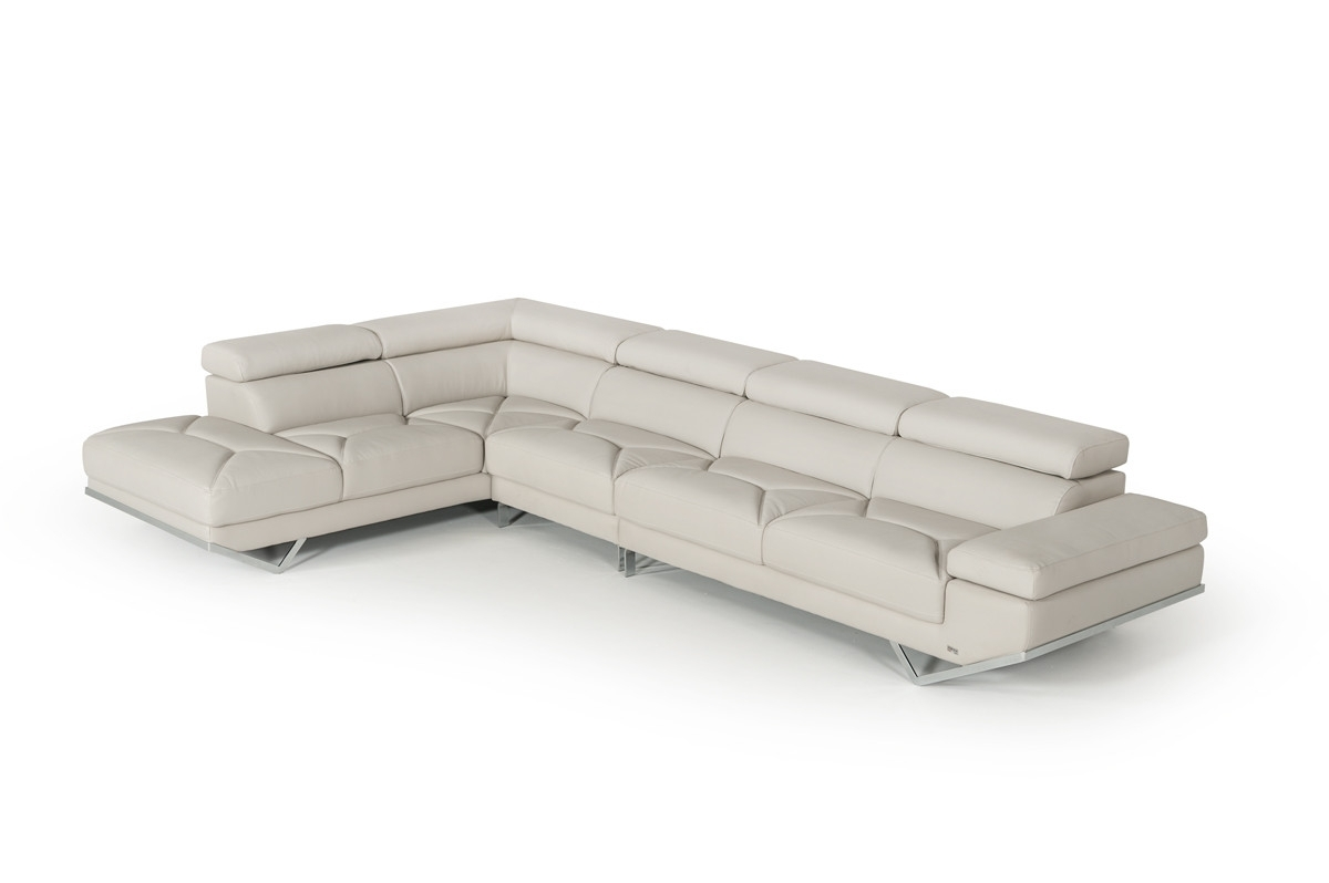 Best And Newest Divani Casa Quebec Modern Light Grey Eco Leather Large Sectional Sofa Intended For Quebec Sectional Sofas (View 1 of 20)