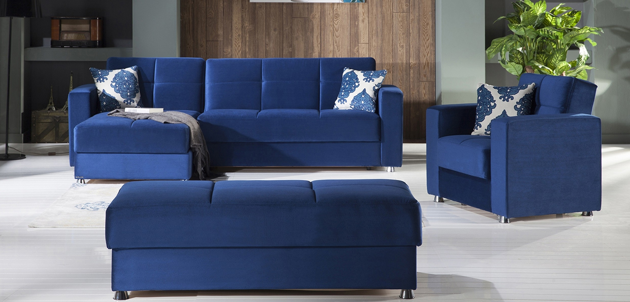 Best And Newest Elegant Convertible Sectional Sofa In Roma Navy Plainistikbal Regarding Convertible Sectional Sofas (View 8 of 20)