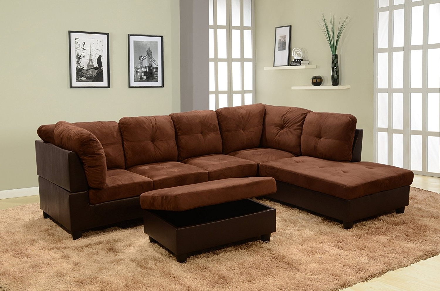 Best And Newest Elliot Fabric Microfiber 2 Piece Sectional Sofa Elliot Fabric Pertaining To Sectional Sofas With 2 Chaises (View 4 of 20)