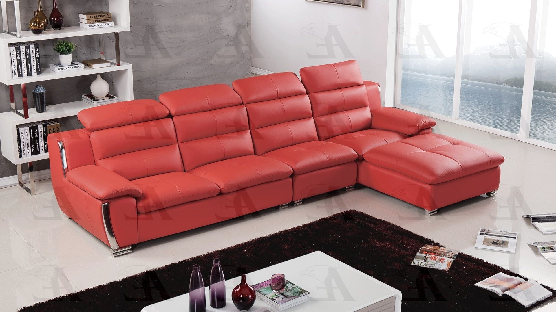 Best And Newest Faux Leather Sectional Throughout Red Faux Leather Sectionals (View 9 of 20)