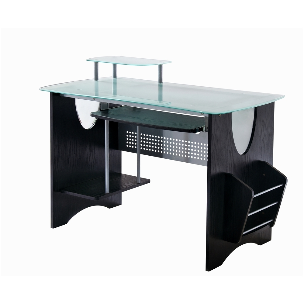 Best And Newest Frosted Glass Top Computer Desk With Storage (View 12 of 20)
