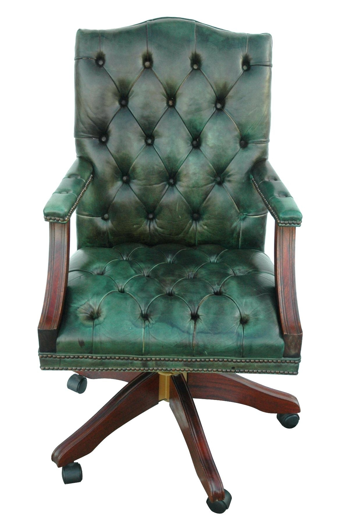 Best And Newest Green Executive Office Chairs Intended For Desk Chair ~ Leather And Wood Desk Chair Grey Brown With Wooden (View 3 of 20)