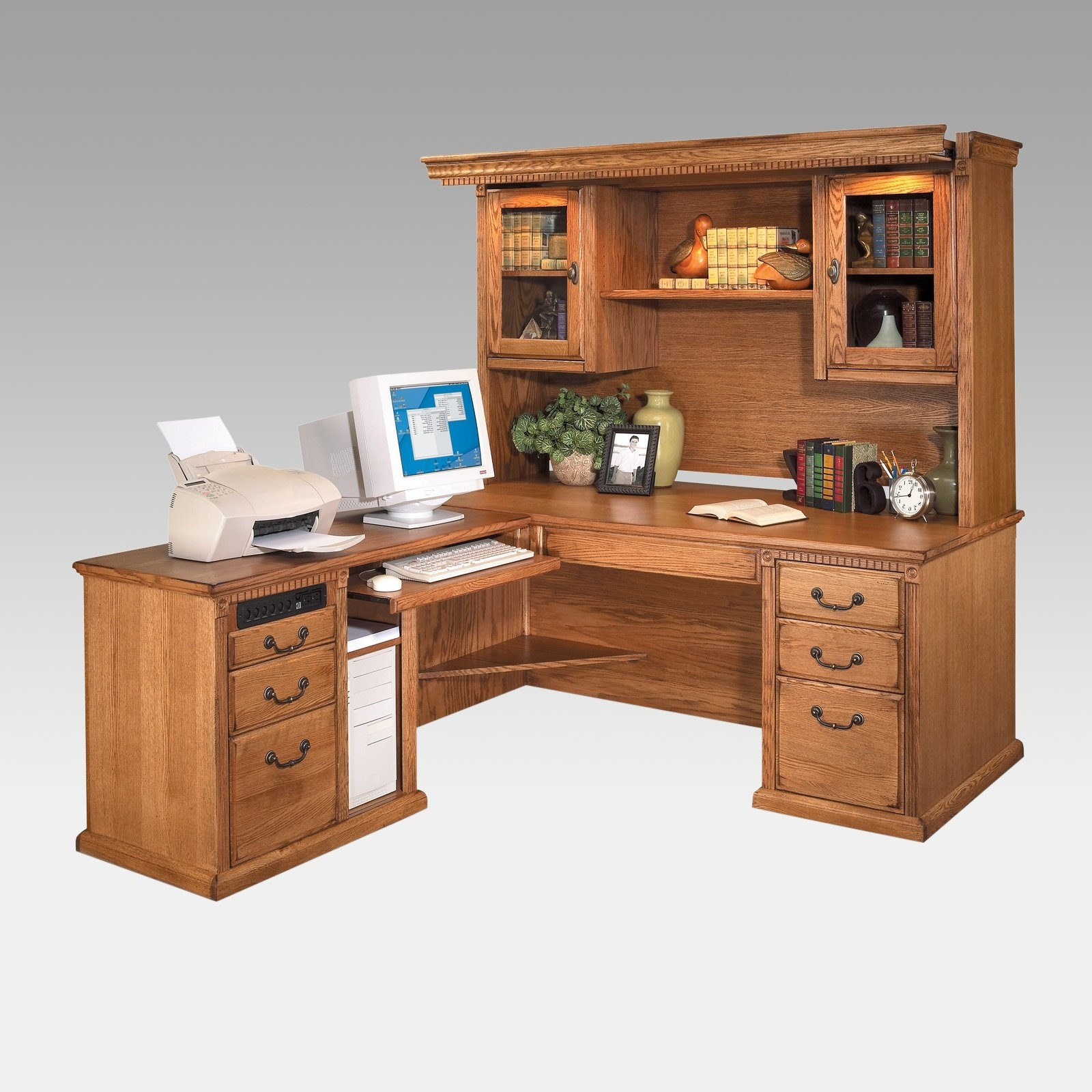 Best And Newest L Shaped Computer Desks In Kathy Ireland Homemartin Huntington Oxford L Shaped Desk And (View 19 of 20)
