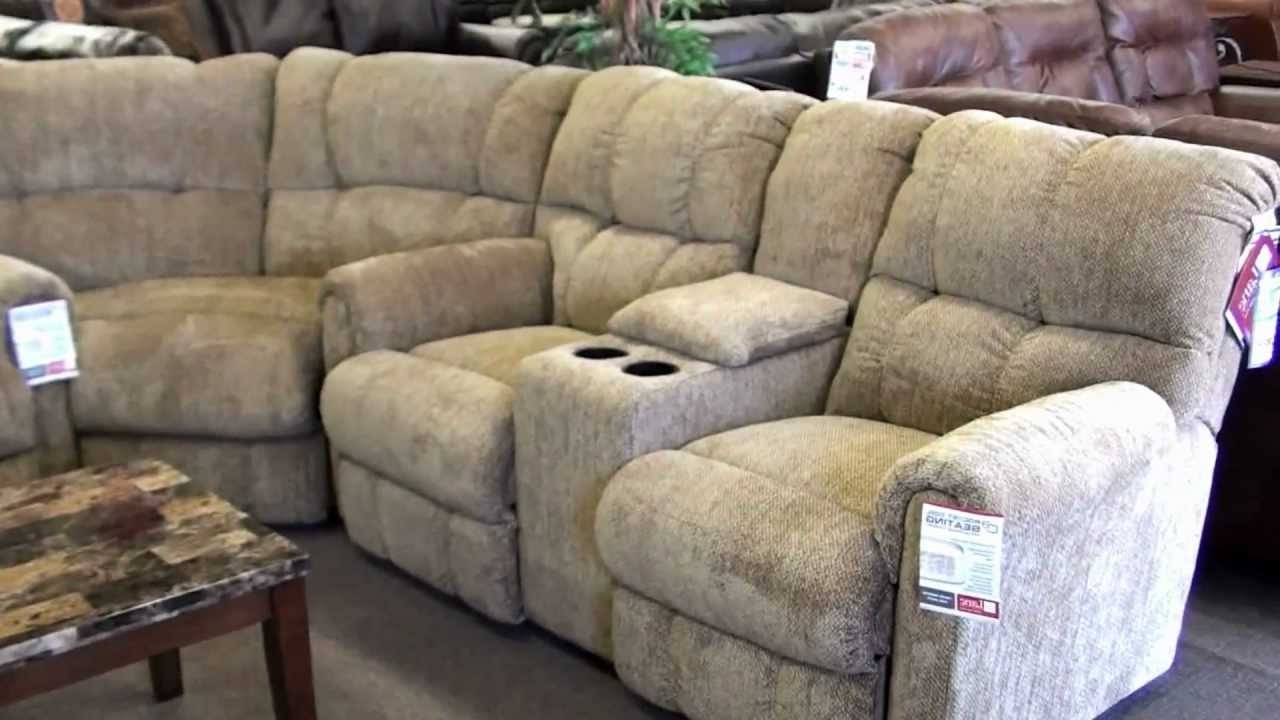 Best And Newest Lane Recliner Sectional 4 Recliners With Cupholders – Youtube Throughout Sectional Sofas With Cup Holders (View 7 of 20)