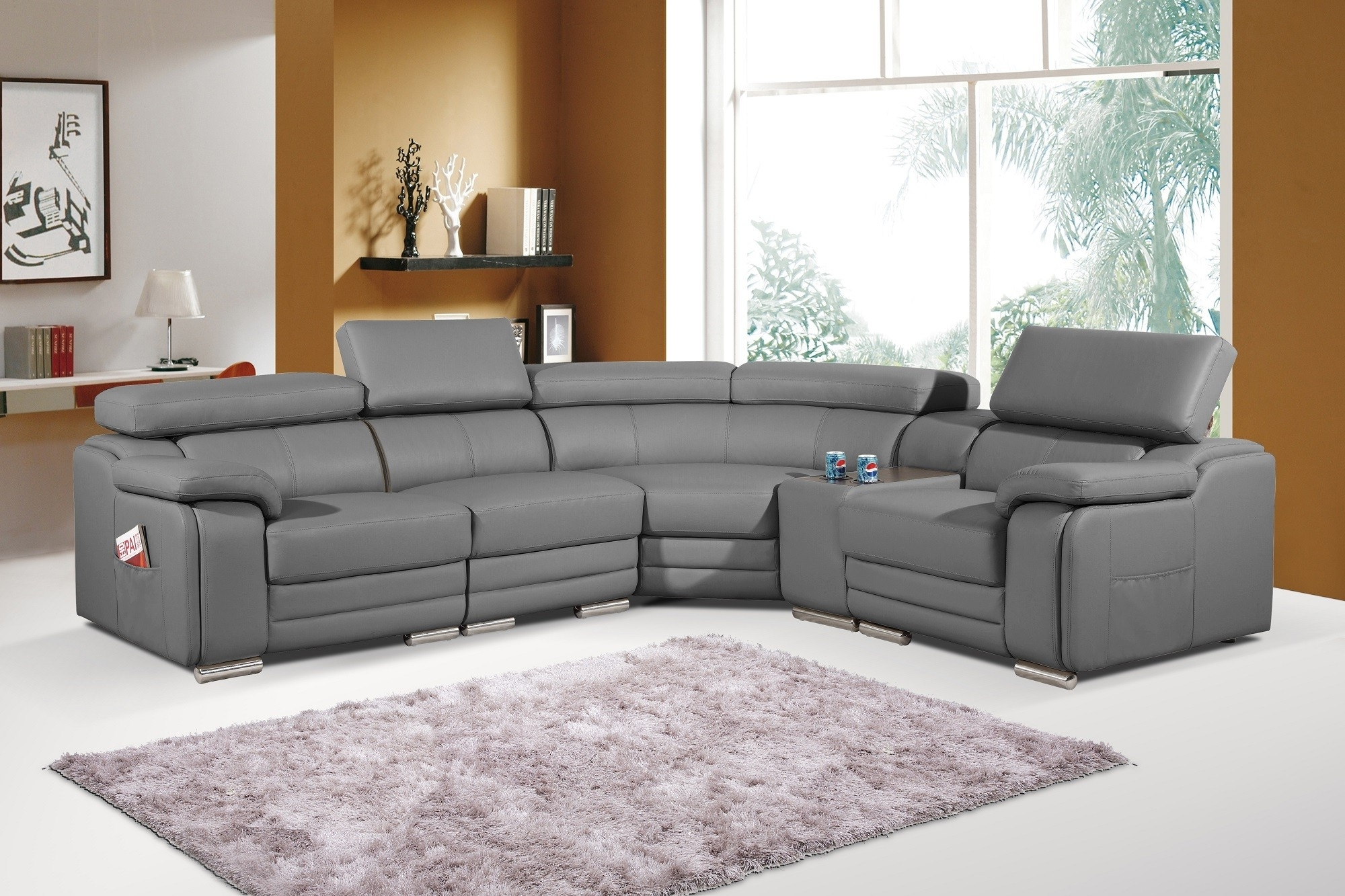 Best And Newest Leather Corner Sofas Inside Dakota Grey Bonded Leather Corner Sofa Left/hand (View 1 of 20)