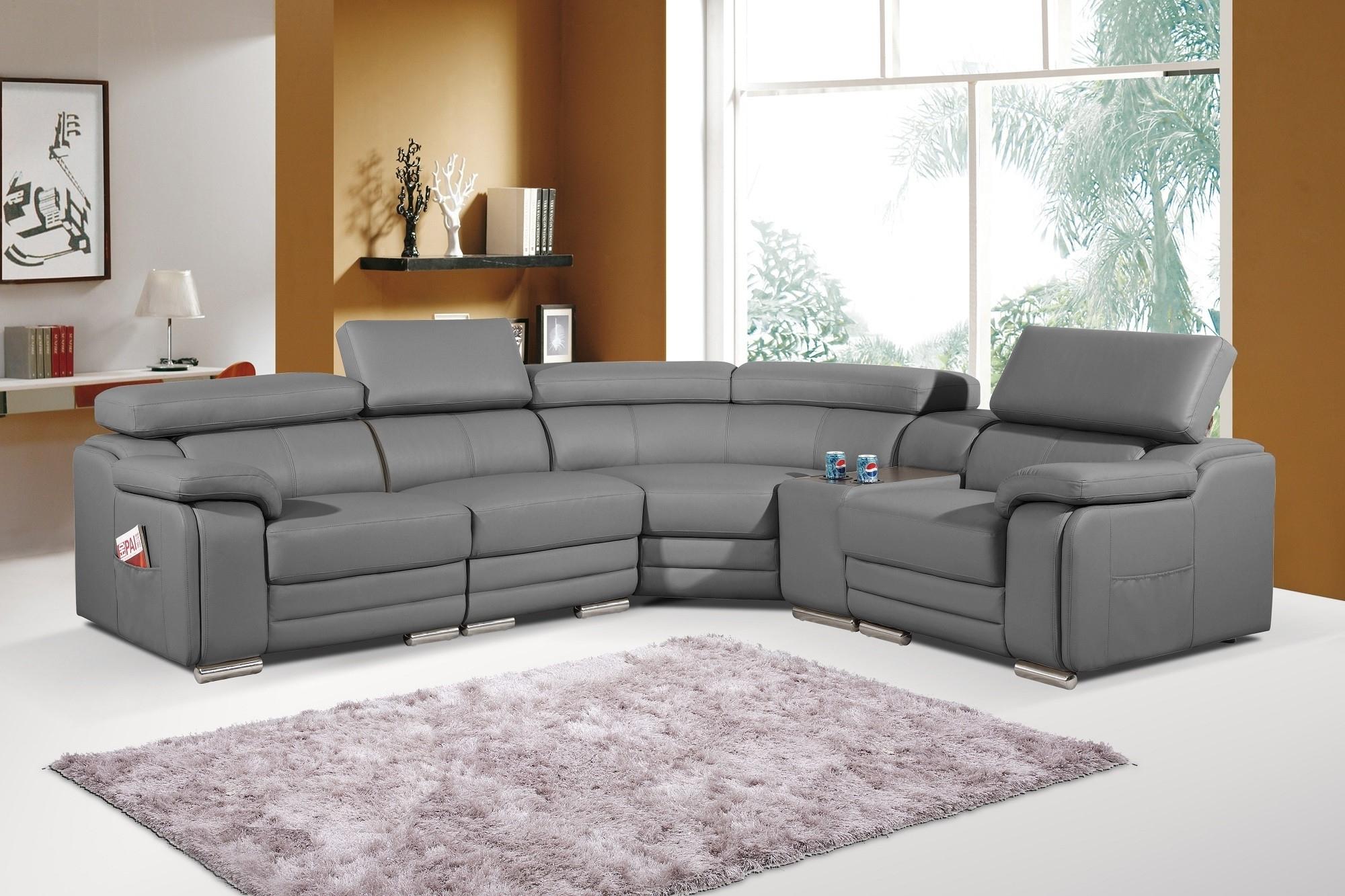 Best And Newest Leather Corner Sofas Inside Dakota Grey Bonded Leather Corner Sofa Left/hand (View 2 of 20)