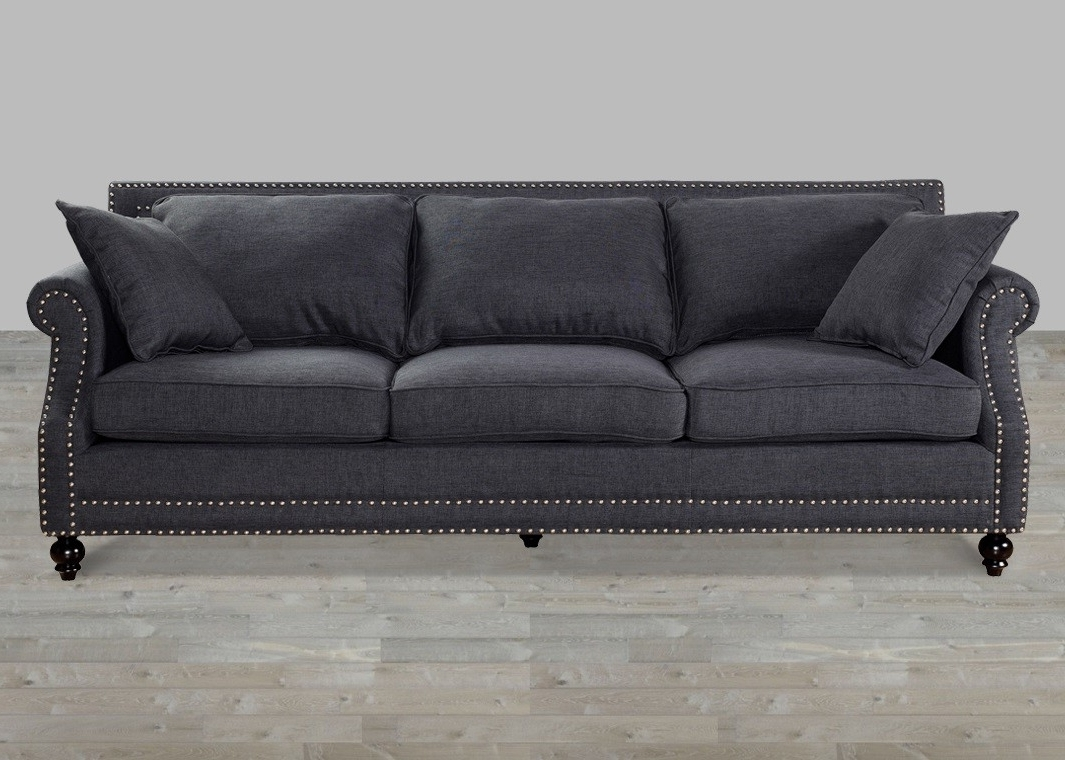 Best And Newest Linen Sofa With Nailheads Intended For Sectional Sofas With Nailheads (View 2 of 20)