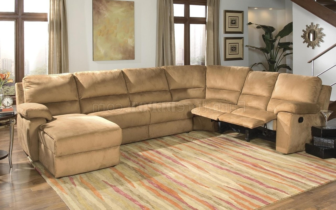 Best And Newest Micro Suede Contemporary Reclining Sectional Sofa Within Microsuede Sectional Sofas (View 4 of 20)