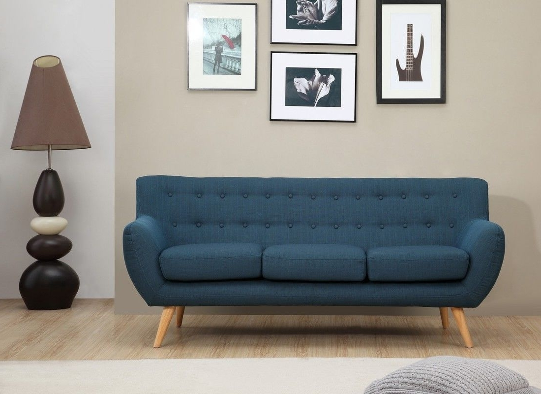 Best And Newest Mid Range Sofas Within Sixties 3 Seater Sofa – Petrol Blue (View 9 of 20)