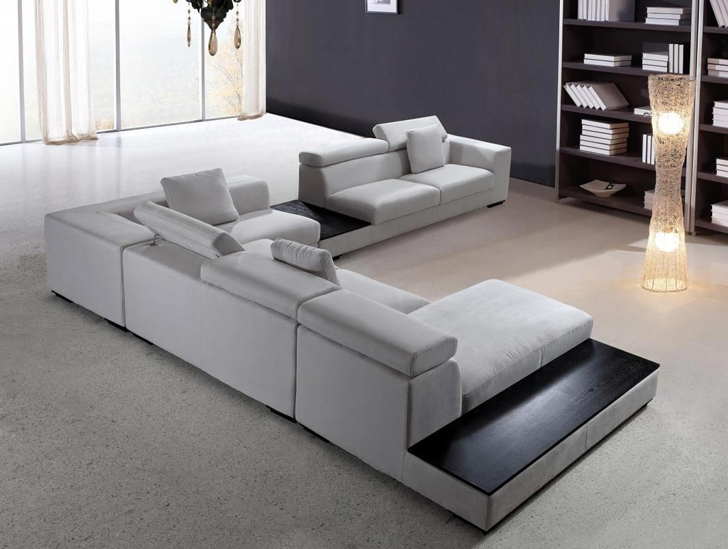 Best And Newest Modern Sectional Sofas With Regard To Modern Sectional Sofa Grey Microfiber Vg Fort (View 2 of 20)