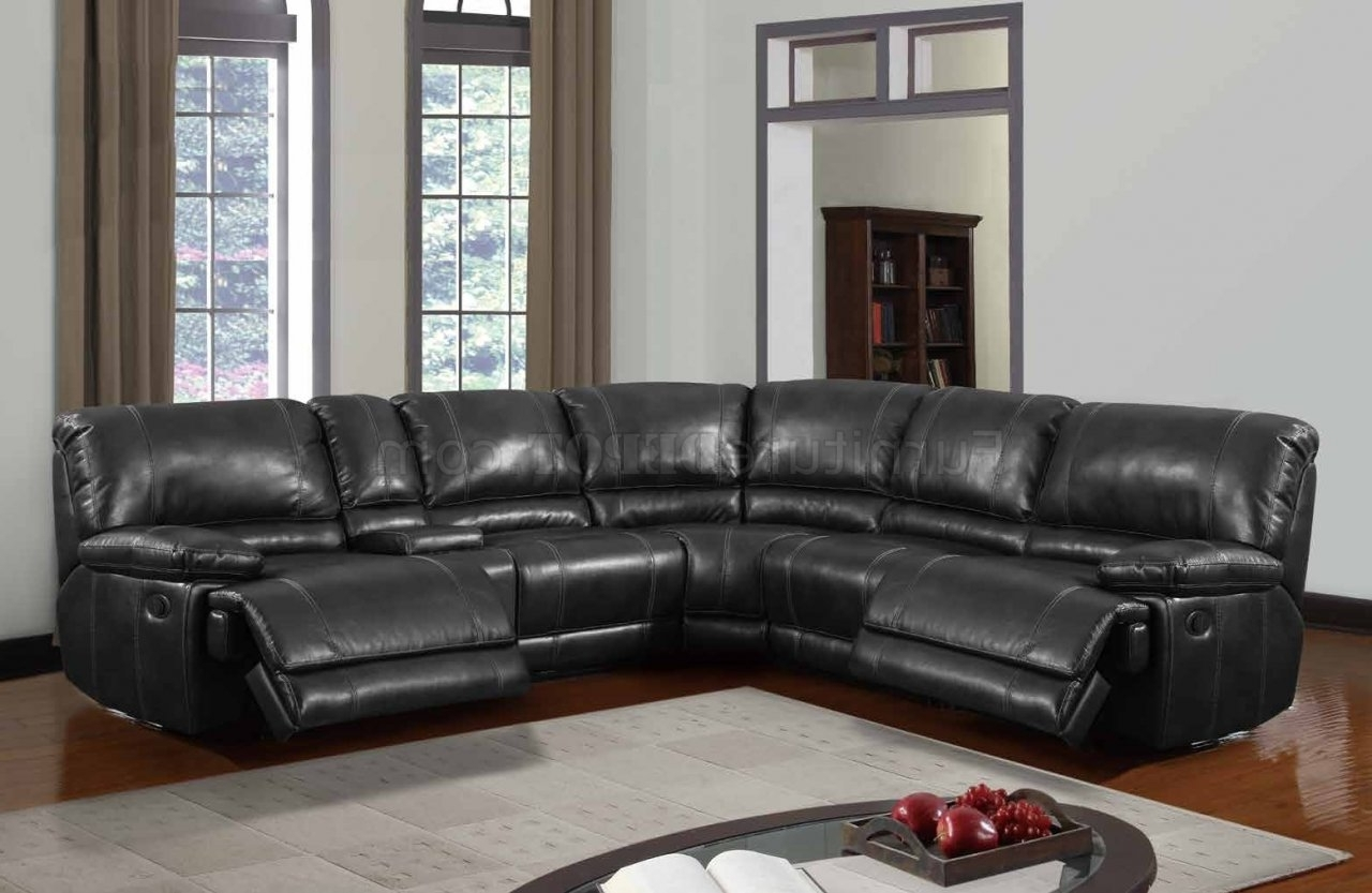Best And Newest Motion Sectional Sofas Inside U1953 Power Motion Sectional Sofa Black Bonded Leatherglobal (View 17 of 20)