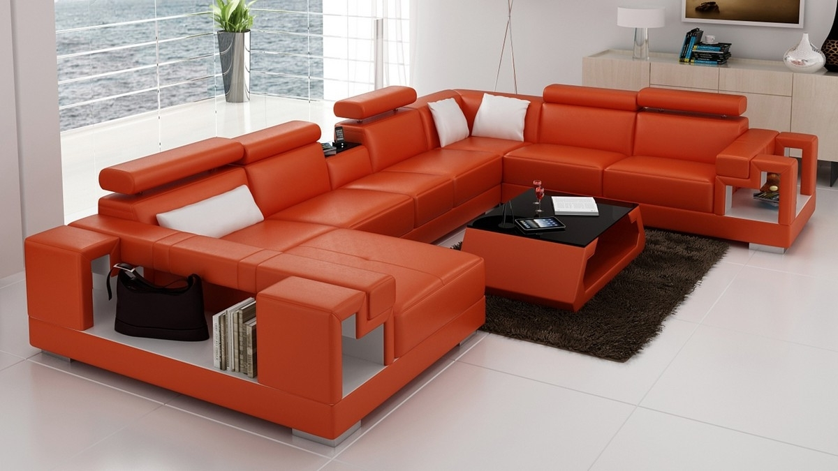 Best And Newest Orange Sectional Sofas In Casa 6138 Modern Orange And White Leather Sectional Sofa (View 2 of 20)