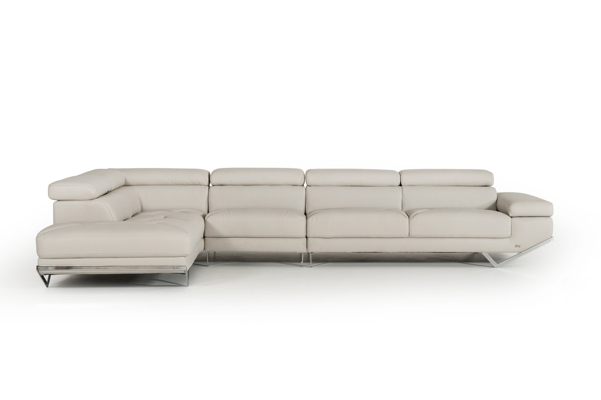 Best And Newest Quebec Sectional Sofas In Casa Quebec Modern Light Grey Eco Leather Large Sectional Sofa (View 8 of 20)